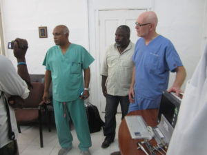 Dr. Nazon, Dr. Domercant, Dr. Lanctin, and presentation of donated equipment.